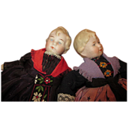 """Set of 2 Bisque Head 6"""" Doll House Dolls"""
