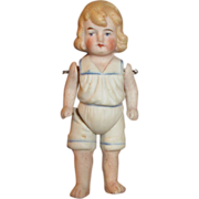 Antique German All Bisque Doll with Molded Hair and Clothes