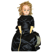 Large Antique Wax Over Doll with Beautiful Glass Eyes