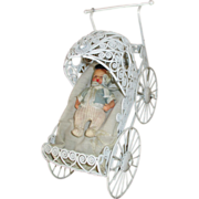 Pretty White Wire Doll Carriage for your Bisque Head Doll