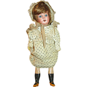 """Pretty 10"""" German Bisque Head Doll - Perfect for Cabinet"""