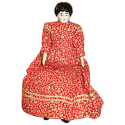 Small China Head Doll in Red Prairie Dress - Pretty