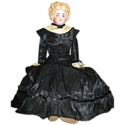 Antique Glass Eyed Bisque Parian Doll in Pretty Black Silk Dress