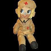 "Vintage 12"" Cloth Doll Dressed As A Nurse"