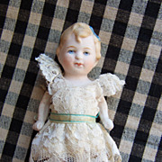 """Adorable 5"""" All Bisque Limbach Doll in Cute Dress"""