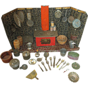 Darling Antique Tin Kitchen for your Antique Doll - Lots of Accessories