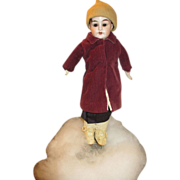 "Darling 14"" Alma Bisque Head Doll on Leather Body with Bisque Arms"