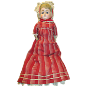 Antique Paper Mache Head Doll - Sweet Look & Original Outfit