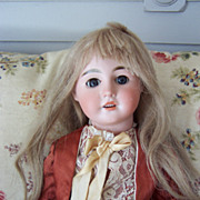 "21"" Antique French Bisque Head Doll in Antique Silk Dress"