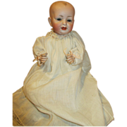 """Antique German Solid Dome 11"""" Bisque Head Baby Doll"""