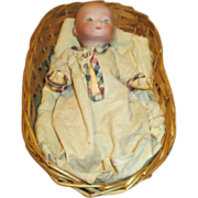 "Tiny 7"" Bisque Head Baby Doll in Wicker Basket"