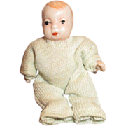 """Tiny 2"""" Bisque Baby Doll For Your Doll House or Baby Carriage"""