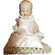 Little All Bisque Doll with Molded Hair