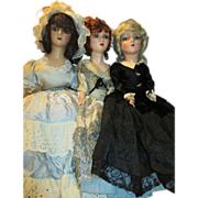 Group of 3 Vintage Boudoir Dolls - Blond, Brunette, and Red Head