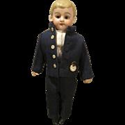 Antique German Bisque Head School Boy in Wonderful Costume