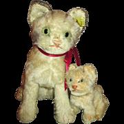 Steiff Mama Cat and Her Baby Kitten