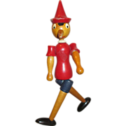 Vintage Wooden Pinocchio Doll - Can Sit or Stand - Turns when walking