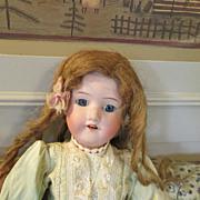 Antique 17 inch Bisque Head Doll - Human Hair Wig - Silk Dress -  Very Sweet