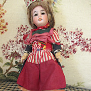 Sweet 6.5 Inch Antique Bisque Head Doll in Original Outfit