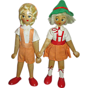 Vintage Polish Wooden Dolls In Their Original Clothing