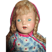 Sweet Vintage Composition Doll with mohair wig