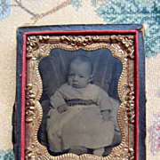 Sweet Tiny Tin Type of Baby For Your Doll House