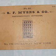 REDUCED S.F. Myers & Co. New York 1885 Watch & Clock Catalogue