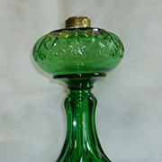REDUCED Antique Green Erin Fan Kerosene/Oil Table Lamp
