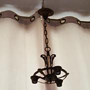 Cast iron 3 lite hanging ceiling lamp