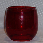 SOLD Red glass railway signal replacement oil lamp shade