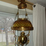REDUCED Antique victorian hanging oil lamp with glass amber hobnail shade