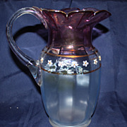 Glass amethyst hand painted blown pitcher