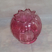 REDUCED Vintage Cranberry Etched Lamp Shade