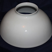 REDUCED 14 Inch Blown White Glass Library Lamp Shade