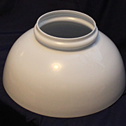"""14"""" Blown White Glass Library Lamp Shade"""