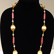 Unique Sautoir in Cream, Fuchsia and Gold Tone