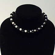 Black Onyx and Faux Pearl Necklace with Silver Clasp