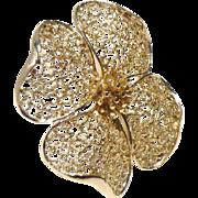 Elegant Lisner Dogwood Flower Brooch in Silver Tone