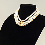 Vintage Richelieu Three-Strand Faux Pearl Necklace with Gold-tone Accents