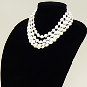 Vintage Four-Strand Milk Glass Necklace from West Germany - MINT!