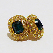 Elegant Oscar de la Renta Faux Emerald and Crystal Earrings