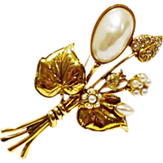 Large Gold Tone Faux Pearl and Rhinestone Bouquet Brooch
