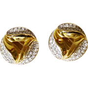 Givenchy Earrings in Crystal Pave and Gold-Tone  - Excellent!