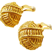 GIVENCHY!! Beautiful Round Basket Weave Earrings in Gold-Tone