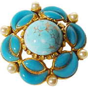 Sphinx of London! Beautiful Faux Turquoise, Howlite Glass, and Faux Pearl Brooch