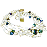 Outstanding Mid-Century German Five-Strand Necklace in Glass Pearl and Bead