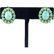 Faux Turquoise Earrings in Gold Tone