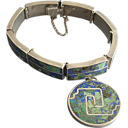 SALE Mexican Azurite Sterling Silver Bracelet with Matching Charm