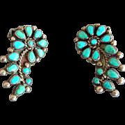 Vintage Zuni Sterling Silver Petit Point Flower Clip Earrings