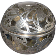 Sphere Shape Sterling Silver Overlay Inkwell